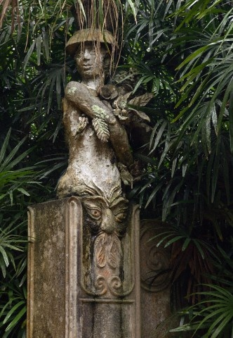 Statue by Donald Friend at the gate of Brief Garden, Kalawila, Sri Lanka  Brief Garden was developed by Bevis Bawa around the bungalow of the rubber estate which his mother gifted him in 1925. The garden proper covers a mere 3 hectares. Donald Friend lived on the estate from 1957 to 1962.
