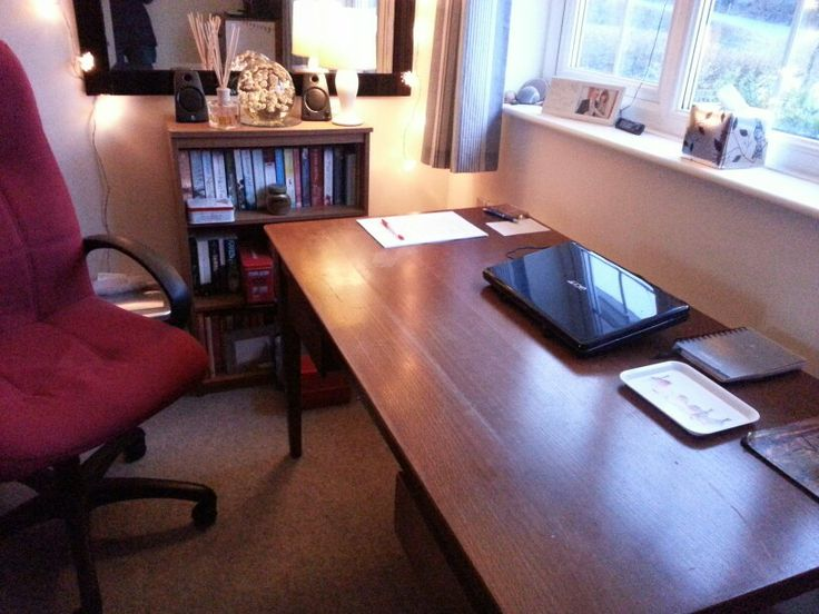""""""" happy days- my desk before I start writing!"""" Not enough space for the junk on mine!"""
