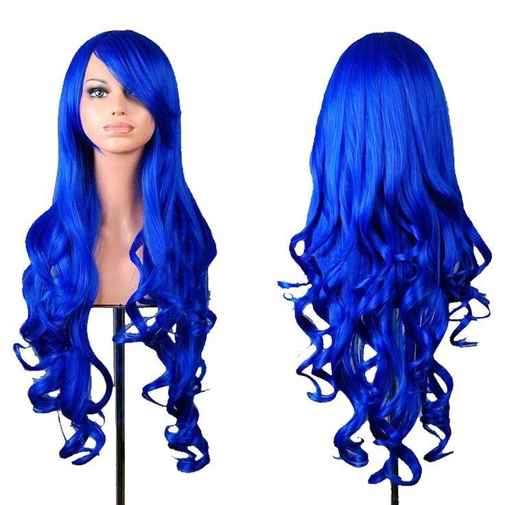 Blu Capelli Mossi Parrucche Con La Frangetta Parrucca di Modo delle Donne Blu Scuro Ricci Cosplay Parrucca di Capelli HB88