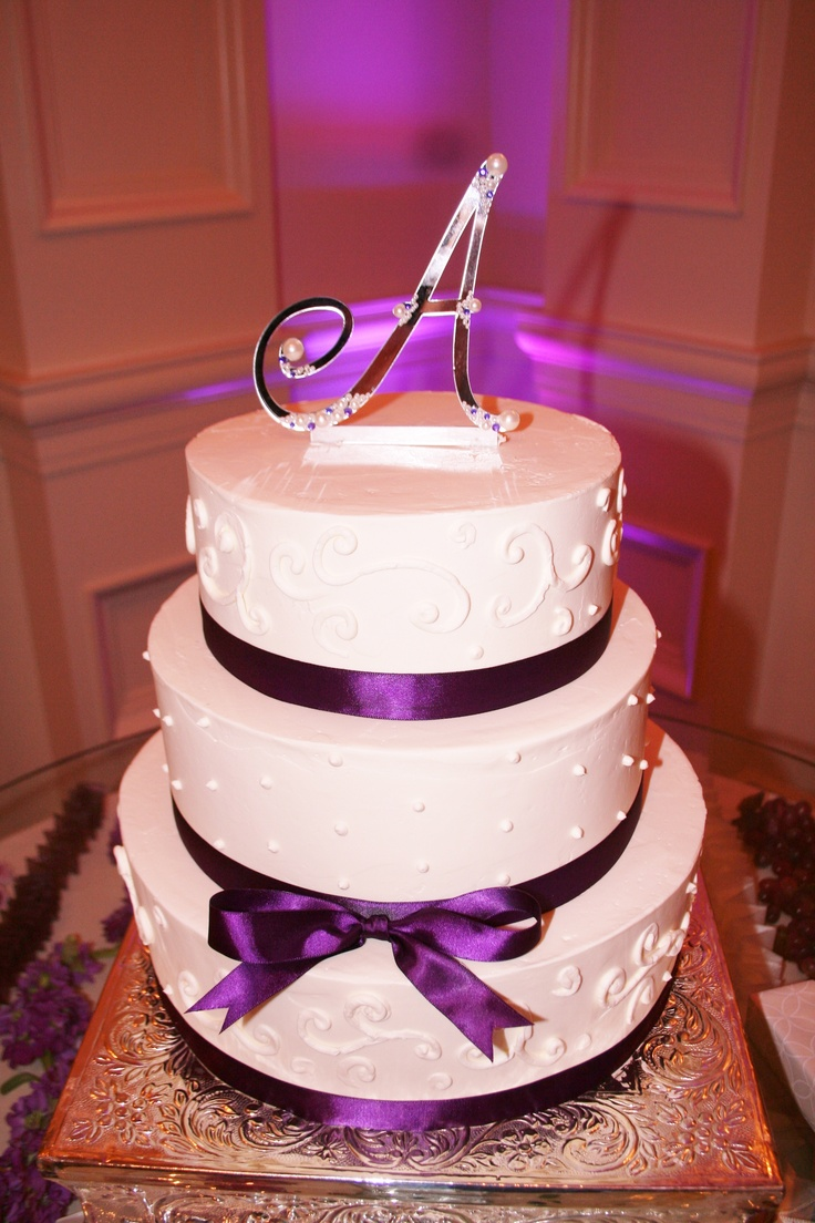 Simple Wedding Cake With Purple Accents