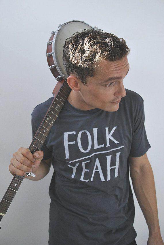 Folk Yeah // Illustrated men's folk tshirt // by leoandspargo, $49.95