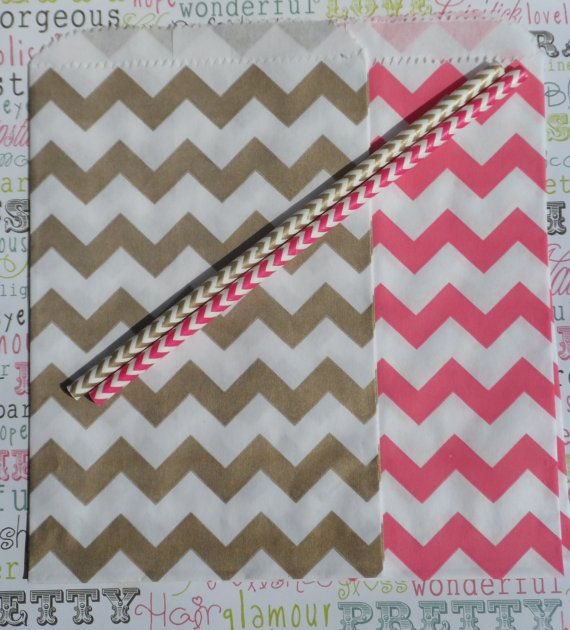 Only I would want blue and gold     50 Princess Pink and Gold Chevron Paper Party by BakersBlingShop, $7.00