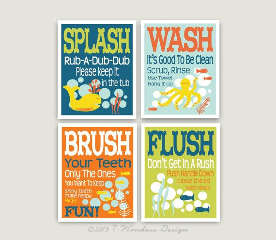 Childrens Kids Bathroom Art Prints Set Of 4 5 X 7 Fine Art Home Decor Colors Seablue Lime Orange Light Rain