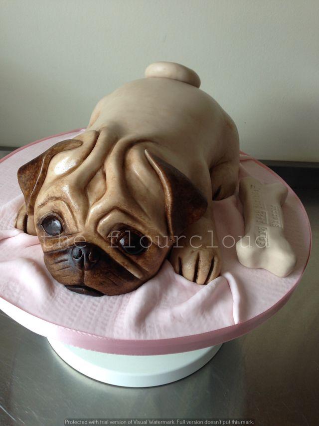 A gorgeous Pug birthday cake.