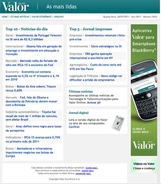 Newsletter Valor Econômico