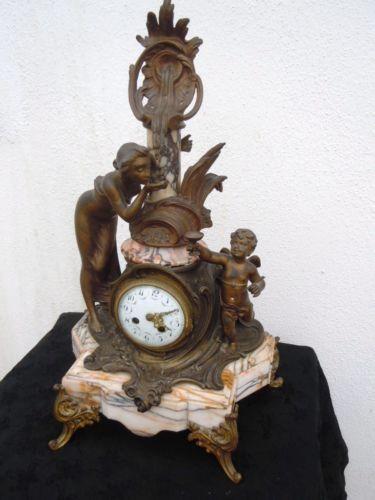 Pendule-sculpture-femme-angelot-putti-cherubin-d-039-epoque-Art-Nouveau-vers-1920