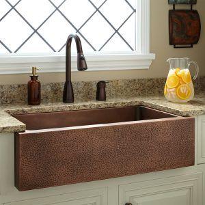 Hammered Copper Apron Kitchen Sinks