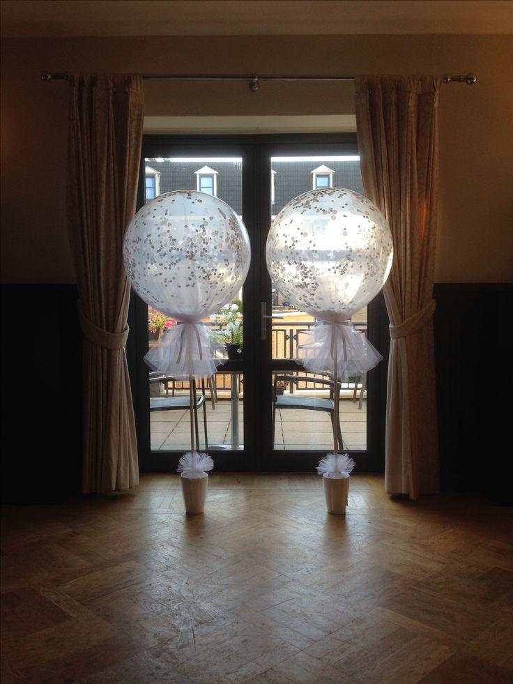 Grote ronde tule en confetti ballonnen