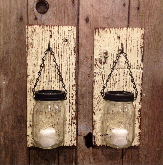 Yellow barnwood mason jar candle holders