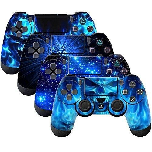 4 pack of PS4 skin PS4 Controller skin Ps4 Playstation 4 Controllers Skin VINYL SKIN STICKER DECAL COVER for PS4 Playstation 4 Controllers PS4 Games Controller Cover(Shing Blue)