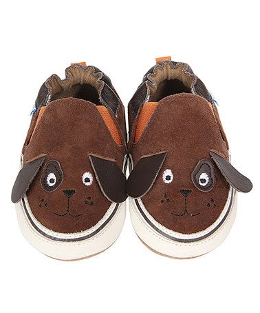 Another great find on #zulily! Brown Puppy Dog Pete Suede Crib Shoes #zulilyfinds