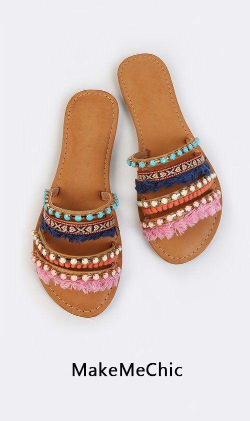 Colorful Embellished Slip Ons TAN