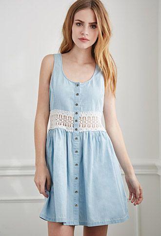 Crochet-Paneled Chambray Dress | Forever 21 | #f21denim