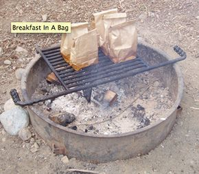 Cooking bacon and eggs in a paper bag. Clean up is a breeze.