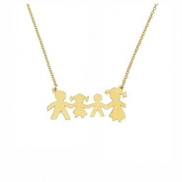 Χαρούμενο γυναικείο κολιέ χρυσό Κ9 για μαμα με οικογένεια - μπαμπάς κόρη γιος και μαμά - Κάντε την παραγγελία σας | Κολιέ για μαμάδες ΤΣΑΛΔΑΡΗΣ Χαλάνδρι #οικογενεια #χρυσο #κολιε