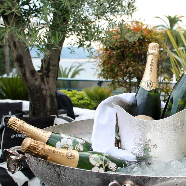Luxury champagne chilling in ice at the de GRISOGONO balcony at Cannes 2017. http://www.thejewelleryeditor.com/jewellery/article/cannes-film-festival-red-carpet-jewellery-behind-the-scenes/ #luxury