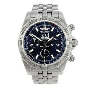 LOT:20   BREITLING - a gentleman's stainless steel Windrider Blackbird chronograph bracelet watch.