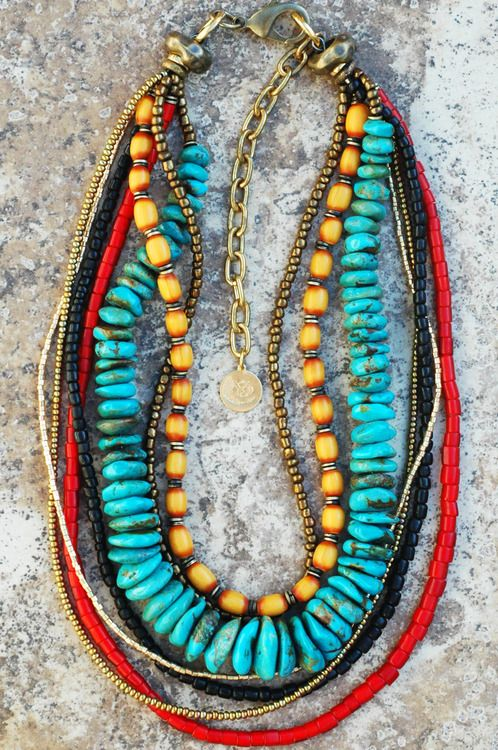 Custom Turquoise, Yellow Amber, Red Glass and Black Coral Necklace