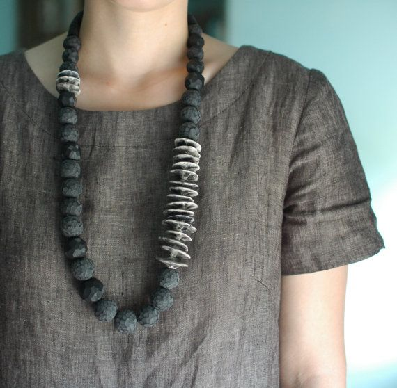 Manifesto Carved Bead Necklace by jibbyandjuna