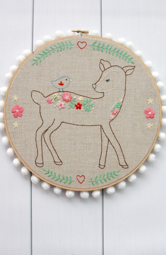 I am so excited to show off my newest embroidery pattern! This Daisy the Floral Deer Embroidery Pattern is my next pattern in a line of sweet woodland embroidery projects I'm doing.Nx