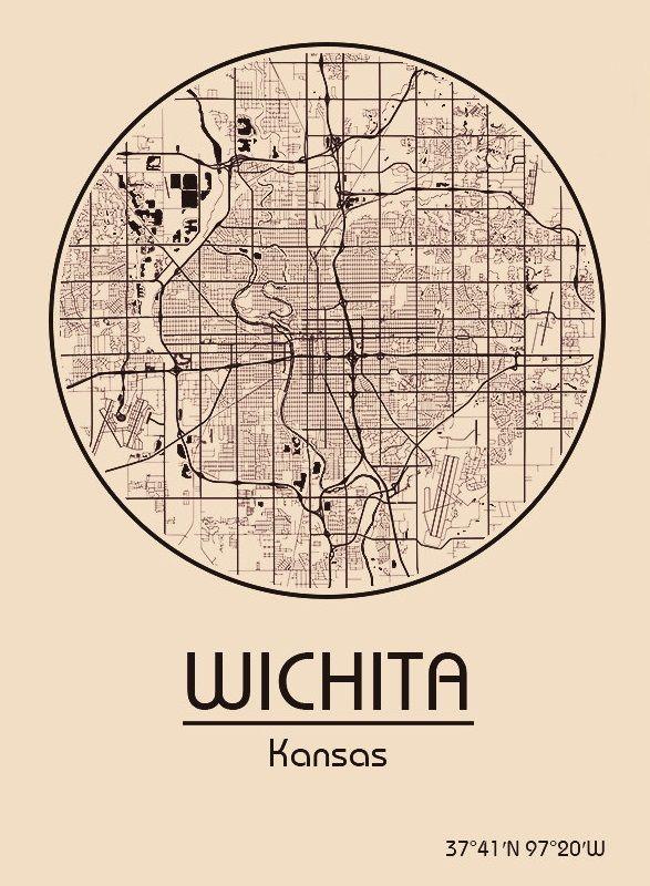 Karte / Map ~ Wichita, Kansas - Vereinigte Staaten von Amerika / United States of America / USA