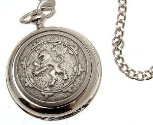 Solid pewter fronted mechanical skeleton pocket watch - Rampant Lion design 18 AEW. $99.00