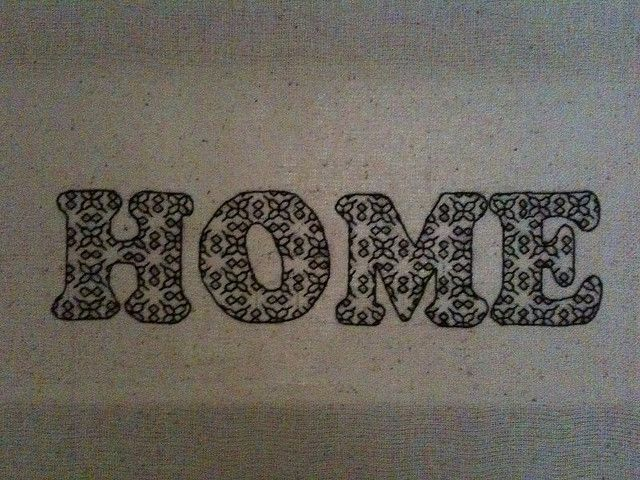 'Home' embroidery in blackwork