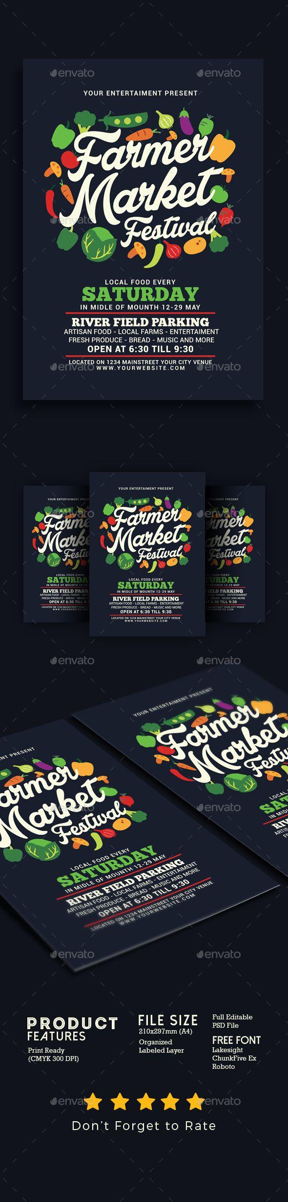 Farmer Market Festival Flyer Template PSD