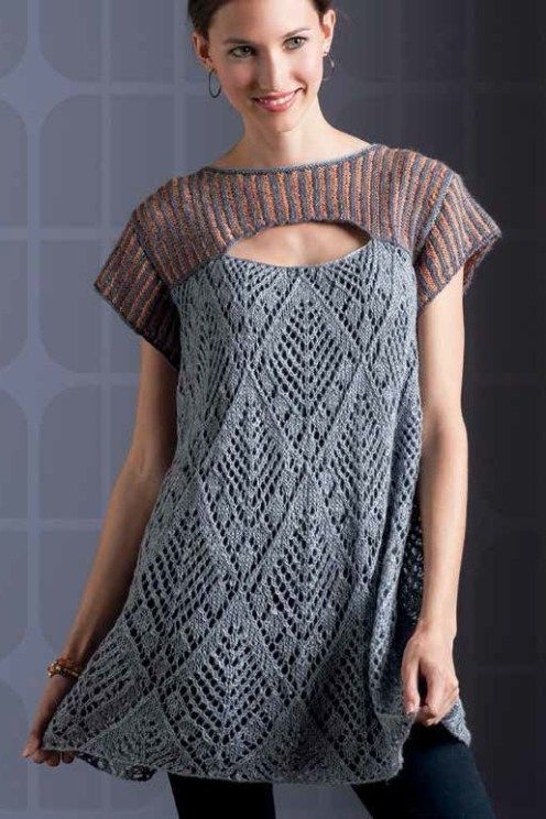 Don't think I'd make this pattern, but pinning for inspiration -- love the contrasts. Tuscany Lace Tunic Knitting pattern