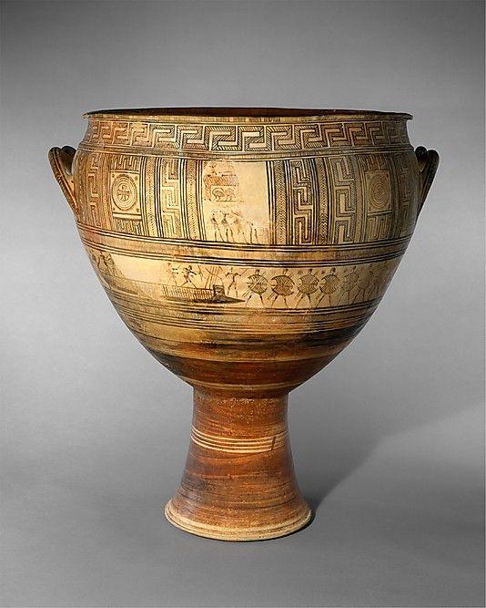 Terracotta krater Period:     Geometric Date:     late 1st quarter of the 8th century B.C. Culture:     Greek, Attic Medium:     Terracotta