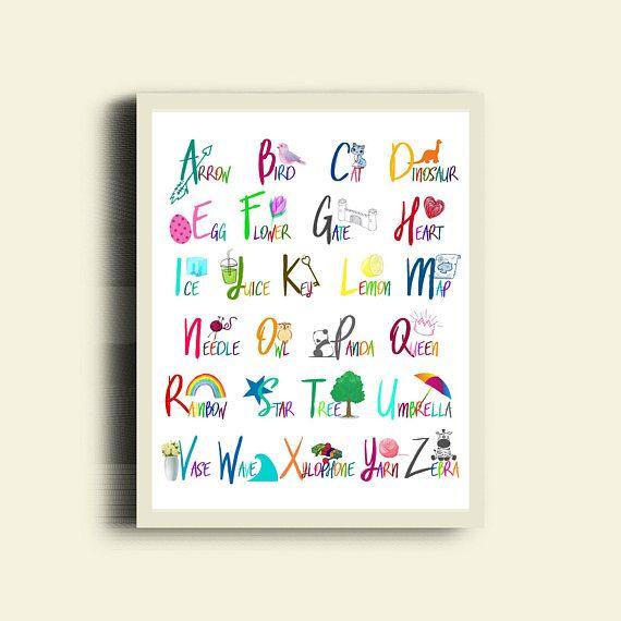 ABC Poster / Alphabet Kids Room Prints / Alphabet Nursery Poster / ABC Kids Prints / Alphabet Words Art / Colorful Nursery ABC / Abc Print