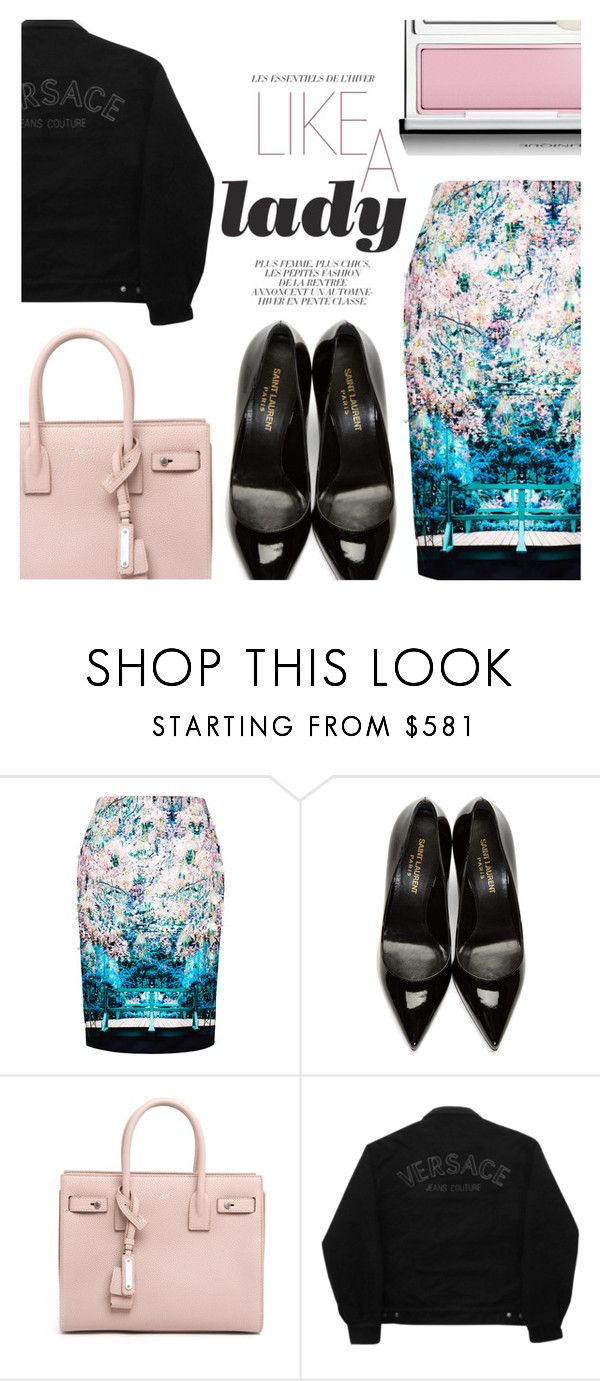 """""""Winter Pastels"""" by simplynatonya ❤ liked on Polyvore featuring Mary Katrantzou, Yves Saint Laurent, Versace Jeans Couture, Clinique, pastel, denimjacket, floralskirt, winterstyle and blackdenim"""