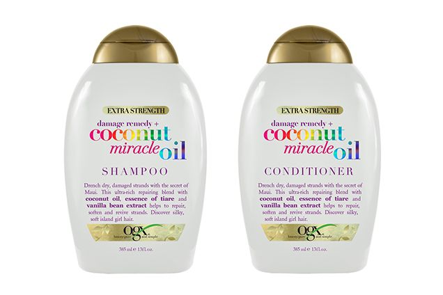 OGX Coconut Miracle Oil Shampoo and Conditioner If you like piña coladas and getting...supersoft hair, the hydrating coconut oil and tiare-flower extract in this tropical-scented duo will leave you singing.  OGX Coconut Miracle Oil Shampoo, $8.99 (ulta.com).ha
