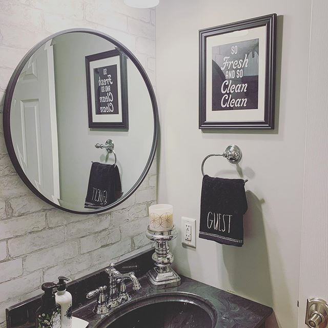 Modern Powder Room With Brick Accent Wall Faux Brick Brick Wallpaper Faux Stone Wallpaper