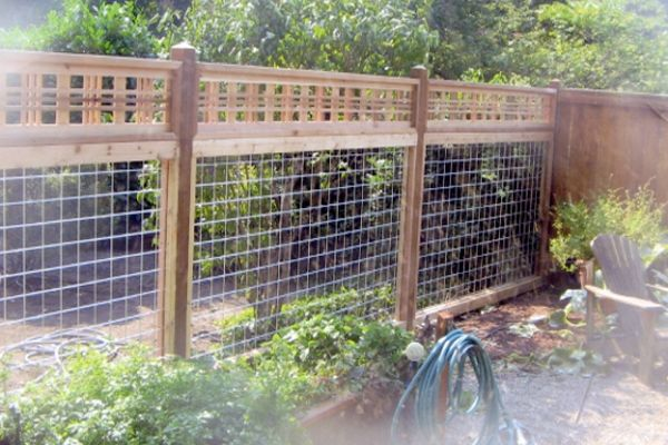 Residential wood and wire fencing garden pinterest