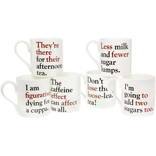 Grammar Grumble Mugs - Set of all six Description The full set of all six Grammar Grumbles mugs An original design by The Literary Gift Company this