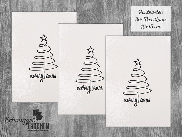 Postkarte tree loop, Weihnachten, Grußkarte Set von Schnuggellaedchen auf DaWanda.com