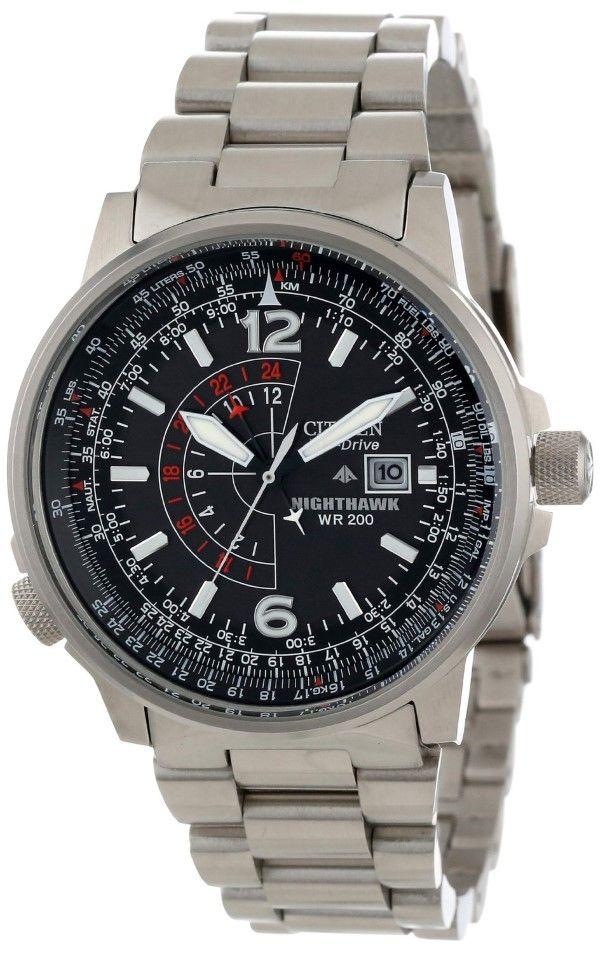 Men's watches : Citizen Men's Nighthawk Eco-Drive Watch BJ7000-52E, Stainless Steel