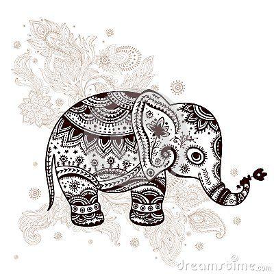 Ethnic elephant illustration by Liudmila Horvath, via Dreamstime