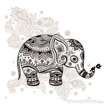 Ethnic elephant illustration by Liudmila Horvath, via Dreamstime