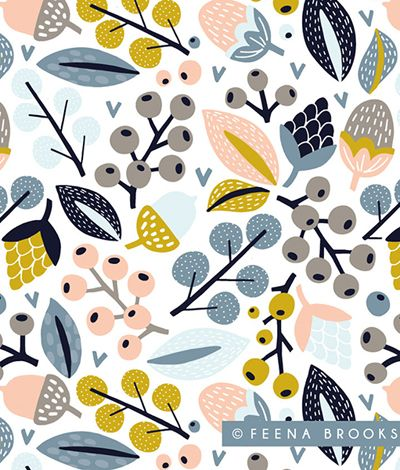 print & pattern Feena Brooks is a London based surface pattern designer who originally trained in Fine Art and has 16 years experience as an artist/designer/illustrator