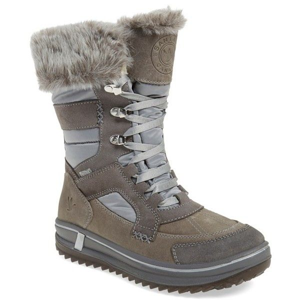 Women's Santana Canada 'Marta' Water Resistant Insulated Winter Boot ($229) ❤ liked on Polyvore featuring shoes, boots, grey fabric, water-resistant boots, ski shoes, gray winter boots, ski boots and special occasion shoes