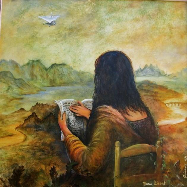 Mona Lisant ou Joconde de dos (Peinture), 80x80 cm par Christian Eprinchard peinture🌑Fosterginger.Pinterest.Com🌑More Pins Like This One At FOSTERGINGER @ PINTEREST 🌑No Pin Limits🌑でこのようなピンがいっぱいになる