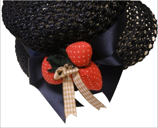straw hat:satin and padded strawberry decor