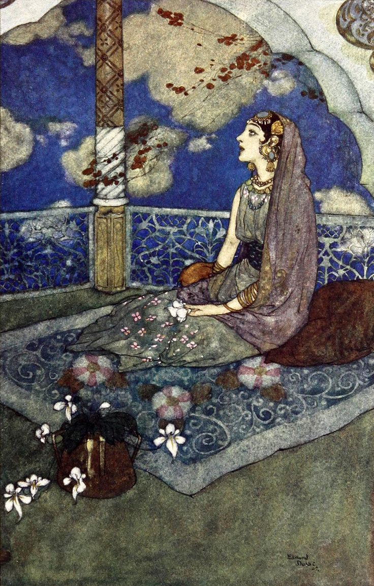 "And ever with the tears falling down from her eyes she sighed and sang (from 'The Magic Horse'). ""Stories from the Arabian Nights"" (1907) illustrated by Edmund Dulac"