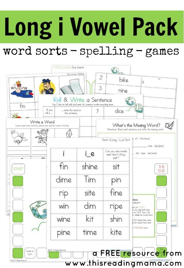 FREE Long i Vowel Pack with 8 activities ~ word sorts ~ spelling ~ games | This Reading Mama