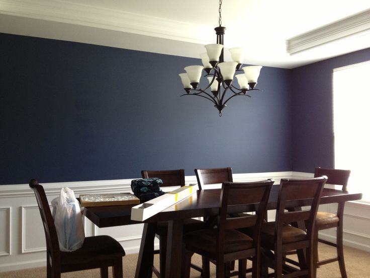 Navy blue dining room white trim wainscoating dining for Dining room ideas in blue
