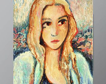 "Textured - Modern Portrait - Impressionist - Bright Art - SPRING GIRL - Modern - Face - Original Painting - Oil - 60x80 cm(23x35 "")"