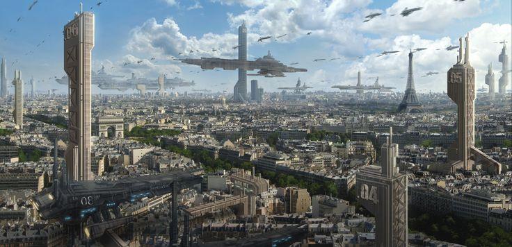Paris futuristic fantasy art science fiction cities wallpaper