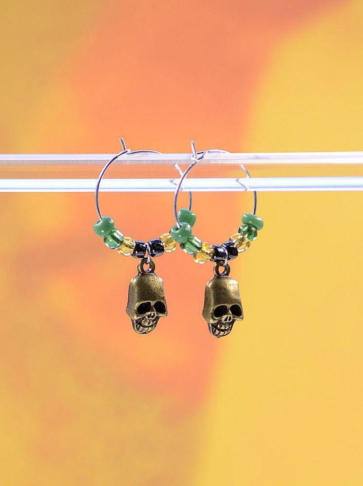 Handmade Zombie Apocolypse Walking Dead Fan Antique Brass Skull Wire Hoop Earrings #316 by VendiDemCreations on Etsy